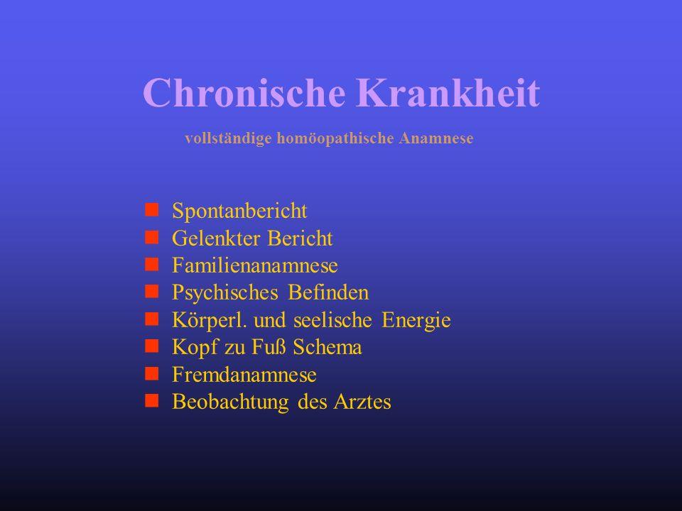 vollständige homöopathische Anamnese Spontanbericht Gelenkter Bericht Familienanamnese Psychisches Befinden Körperl. und seelische Energie Kopf zu Fuß