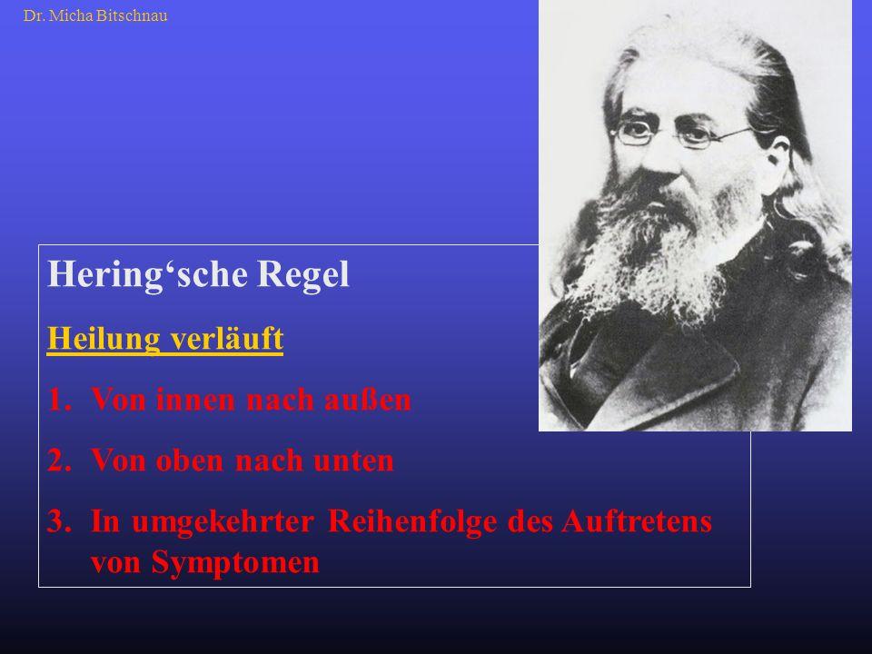 Heringsche Regel Heilung verläuft 1.Von innen nach außen 2.Von oben nach unten 3.In umgekehrter Reihenfolge des Auftretens von Symptomen Dr. Micha Bit