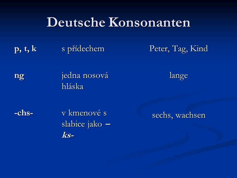 Deutsche Konsonanten p, t, k s přídechem ngjedna nosová hláska -chs-v kmenové s slabice jako – ks- Peter, Tag, Kind lange sechs, wachsen