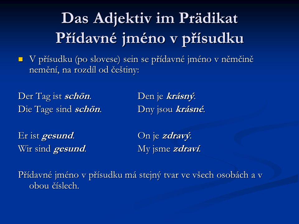 Das Adjektiv im Prädikat Přídavné jméno v přísudku V přísudku (po slovese) sein se přídavné jméno v němčině nemění, na rozdíl od češtiny: V přísudku (