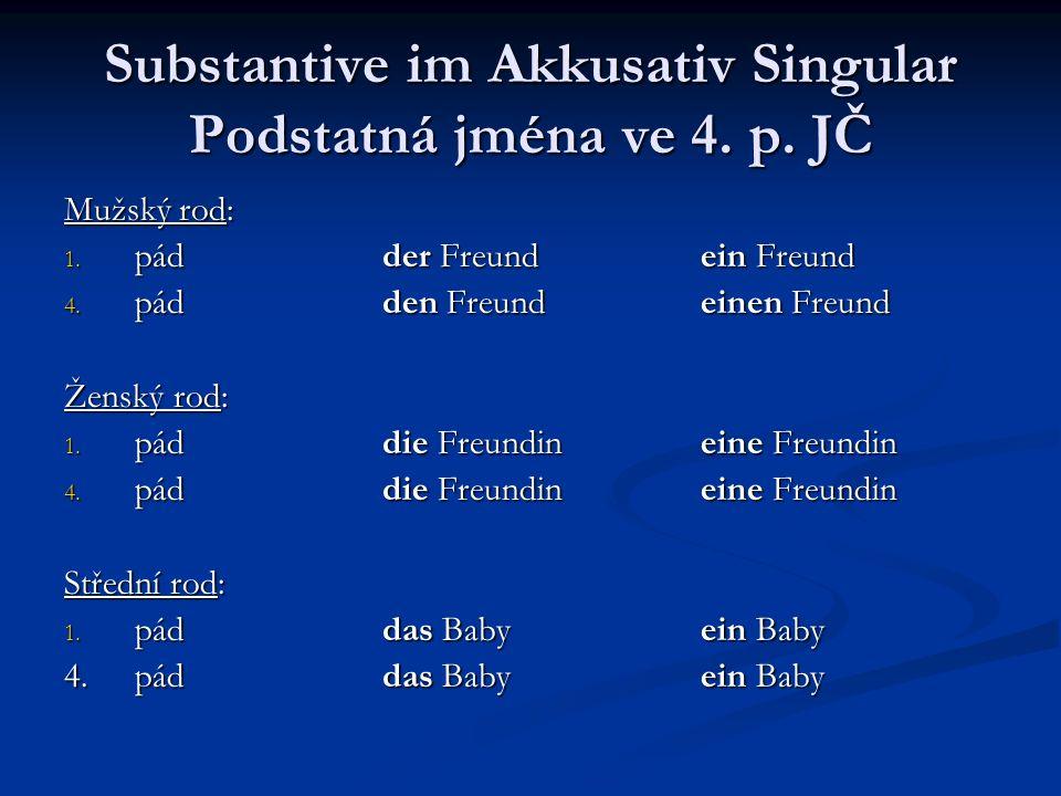 Substantive im Akkusativ Singular Podstatná jména ve 4. p. JČ Mužský rod: 1. pádder Freundein Freund 4. pádden Freundeinen Freund Ženský rod: 1. páddi