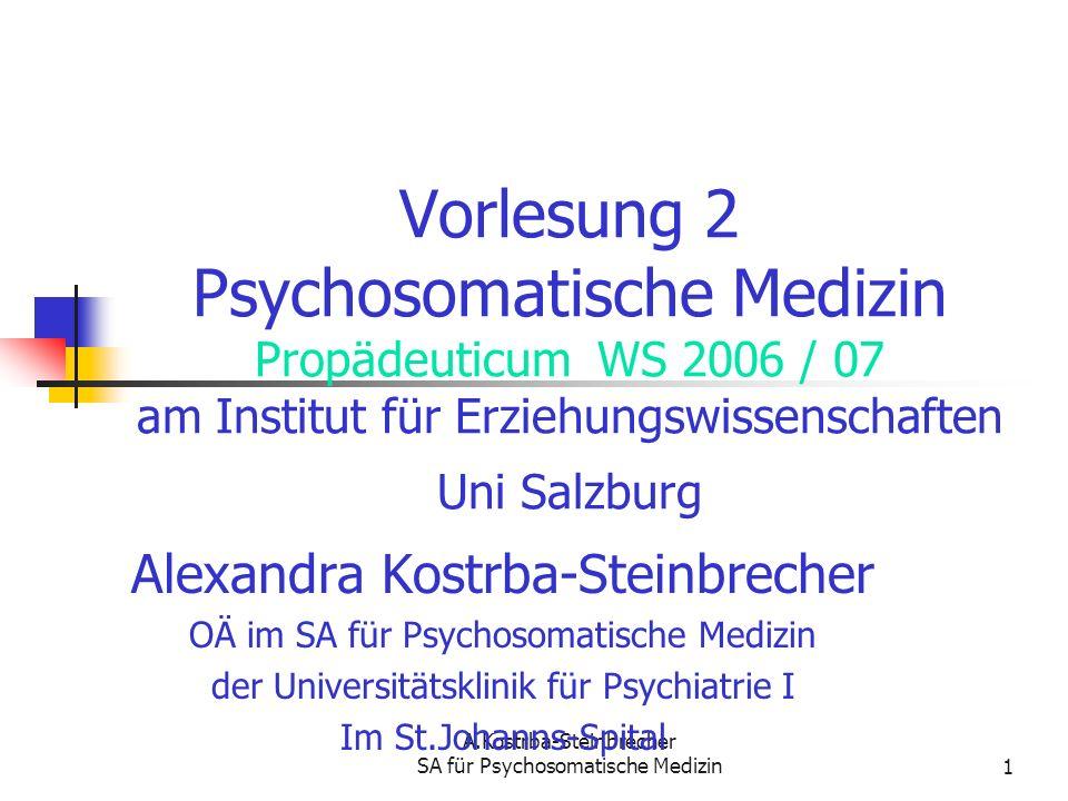 A.Kostrba-Steinbrecher SA für Psychosomatische Medizin1 Vorlesung 2 Psychosomatische Medizin Propädeuticum WS 2006 / 07 am Institut für Erziehungswiss