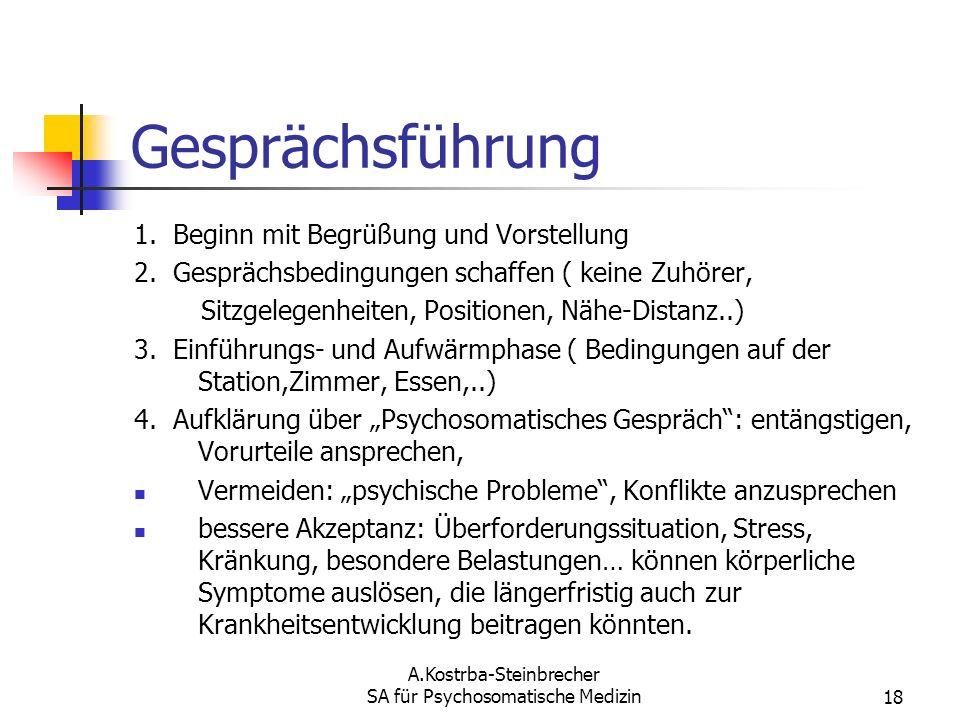 A.Kostrba-Steinbrecher SA für Psychosomatische Medizin18 Gesprächsführung 1. Beginn mit Begrüßung und Vorstellung 2. Gesprächsbedingungen schaffen ( k