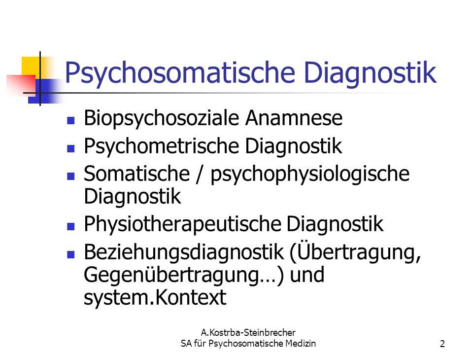 A.Kostrba-Steinbrecher SA für Psychosomatische Medizin2 Psychosomatische Diagnostik Biopsychosoziale Anamnese Psychometrische Diagnostik Somatische /