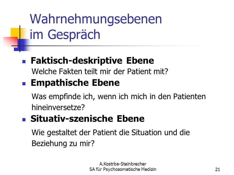 A.Kostrba-Steinbrecher SA für Psychosomatische Medizin21 Wahrnehmungsebenen im Gespräch Faktisch-deskriptive Ebene Welche Fakten teilt mir der Patient