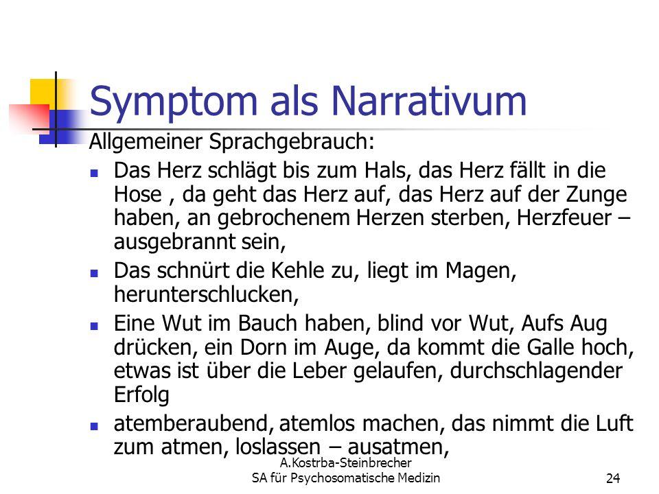 A.Kostrba-Steinbrecher SA für Psychosomatische Medizin24 Symptom als Narrativum Allgemeiner Sprachgebrauch: Das Herz schlägt bis zum Hals, das Herz fä