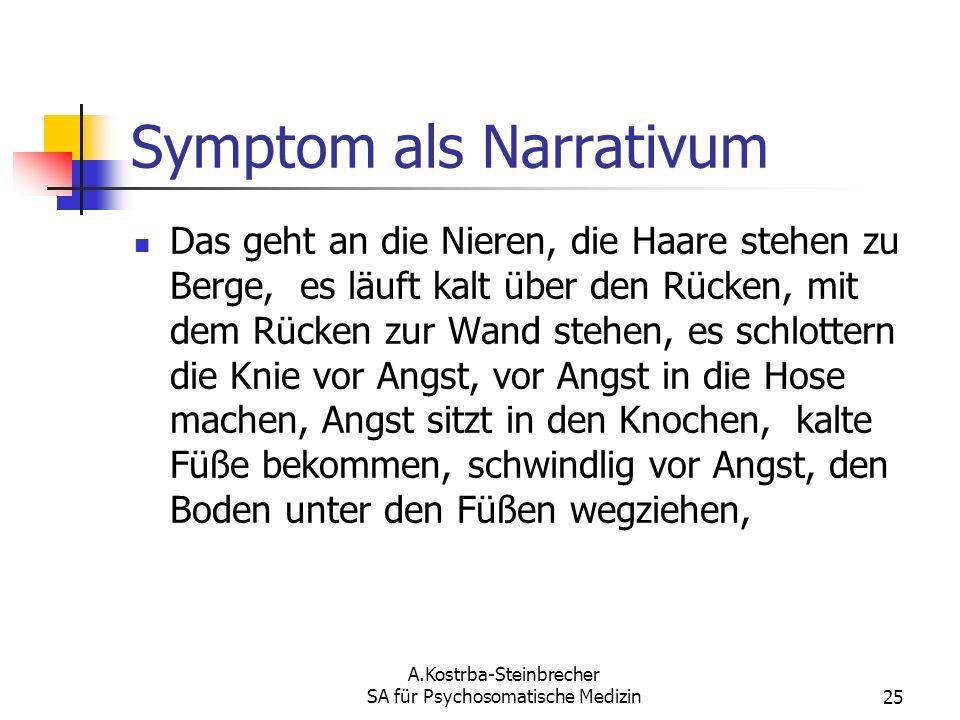 A.Kostrba-Steinbrecher SA für Psychosomatische Medizin25 Symptom als Narrativum Das geht an die Nieren, die Haare stehen zu Berge, es läuft kalt über
