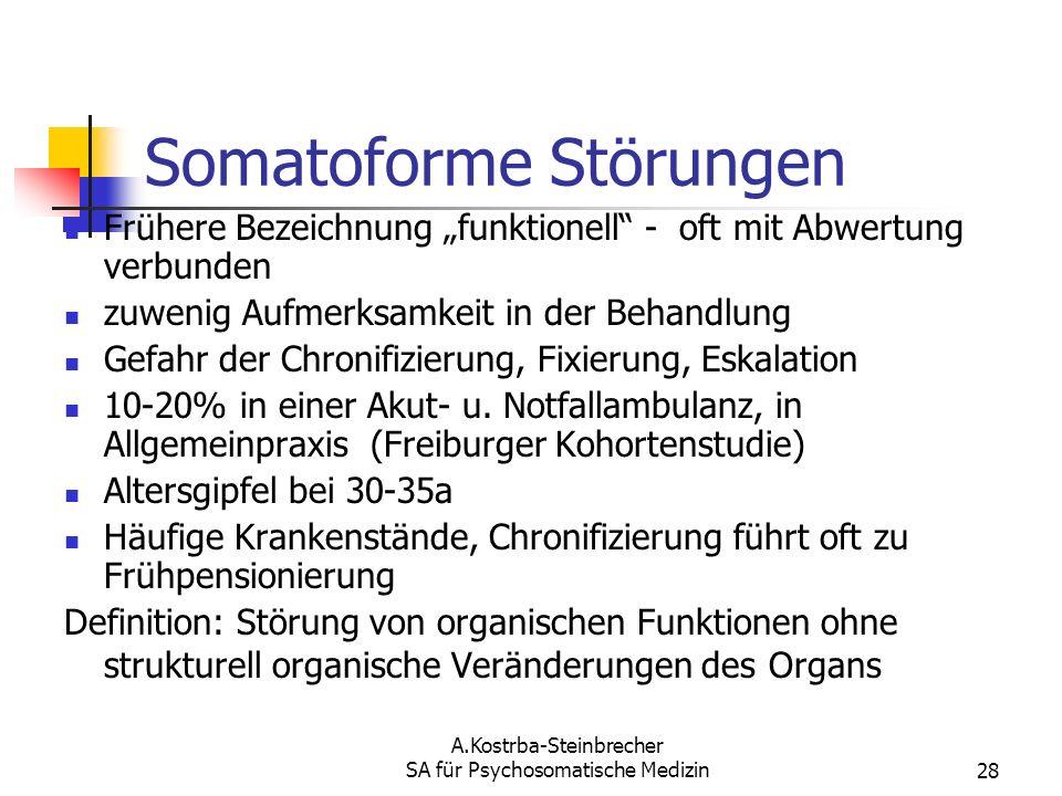 A.Kostrba-Steinbrecher SA für Psychosomatische Medizin28 Somatoforme Störungen Frühere Bezeichnung funktionell - oft mit Abwertung verbunden zuwenig A