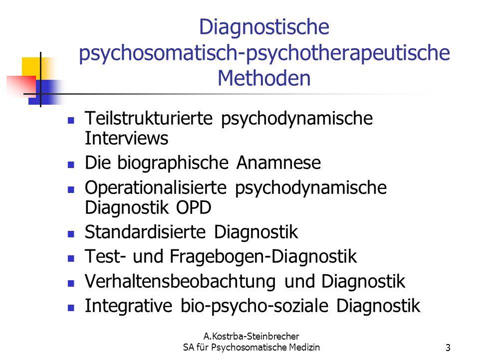 A.Kostrba-Steinbrecher SA für Psychosomatische Medizin3 Diagnostische psychosomatisch-psychotherapeutische Methoden Teilstrukturierte psychodynamische