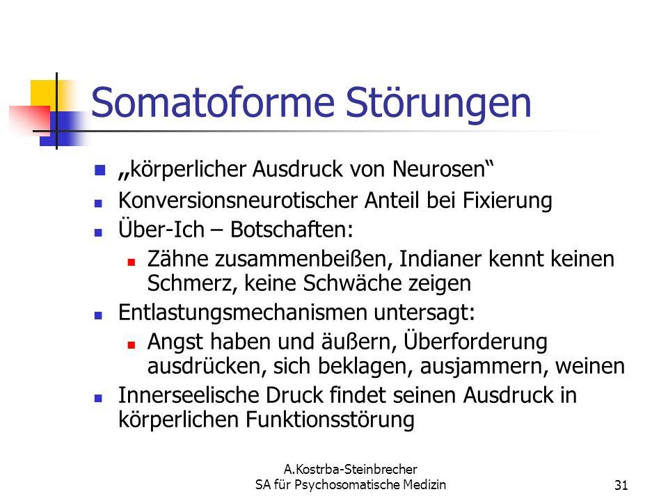 A.Kostrba-Steinbrecher SA für Psychosomatische Medizin31 Somatoforme Störungen körperlicher Ausdruck von Neurosen Konversionsneurotischer Anteil bei F