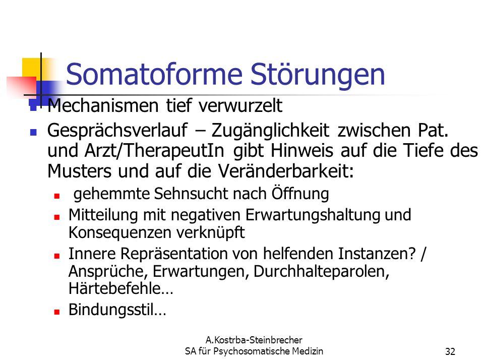 A.Kostrba-Steinbrecher SA für Psychosomatische Medizin32 Somatoforme Störungen Mechanismen tief verwurzelt Gesprächsverlauf – Zugänglichkeit zwischen