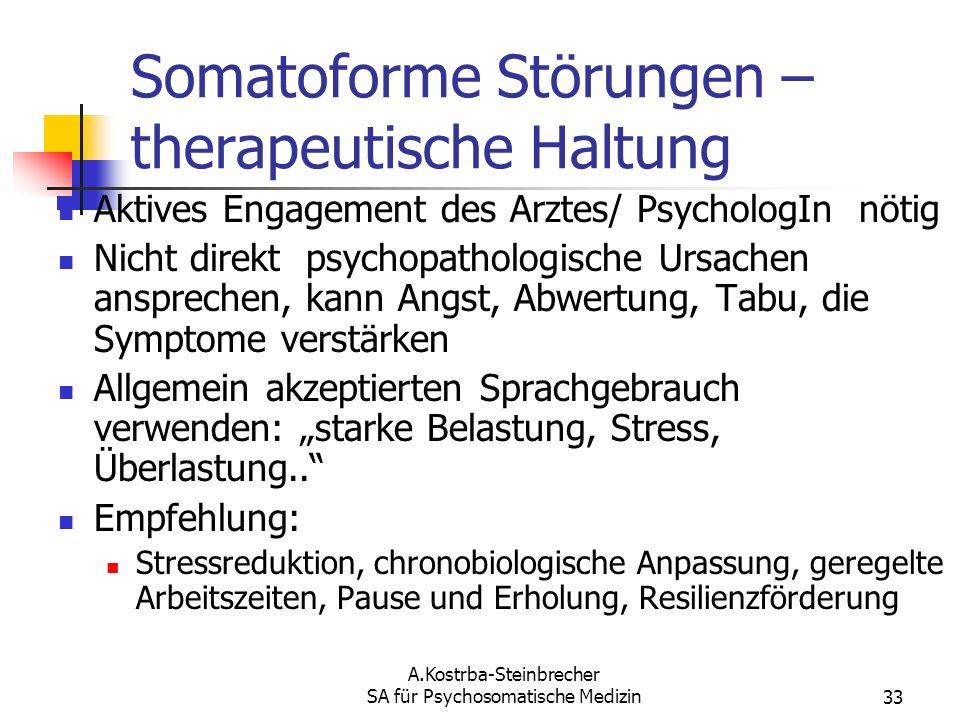 A.Kostrba-Steinbrecher SA für Psychosomatische Medizin33 Somatoforme Störungen – therapeutische Haltung Aktives Engagement des Arztes/ PsychologIn nöt