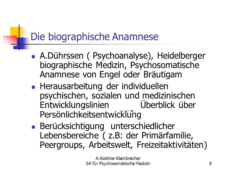 A.Kostrba-Steinbrecher SA für Psychosomatische Medizin9 Die biographische Anamnese A.Dührssen ( Psychoanalyse), Heidelberger biographische Medizin, Ps