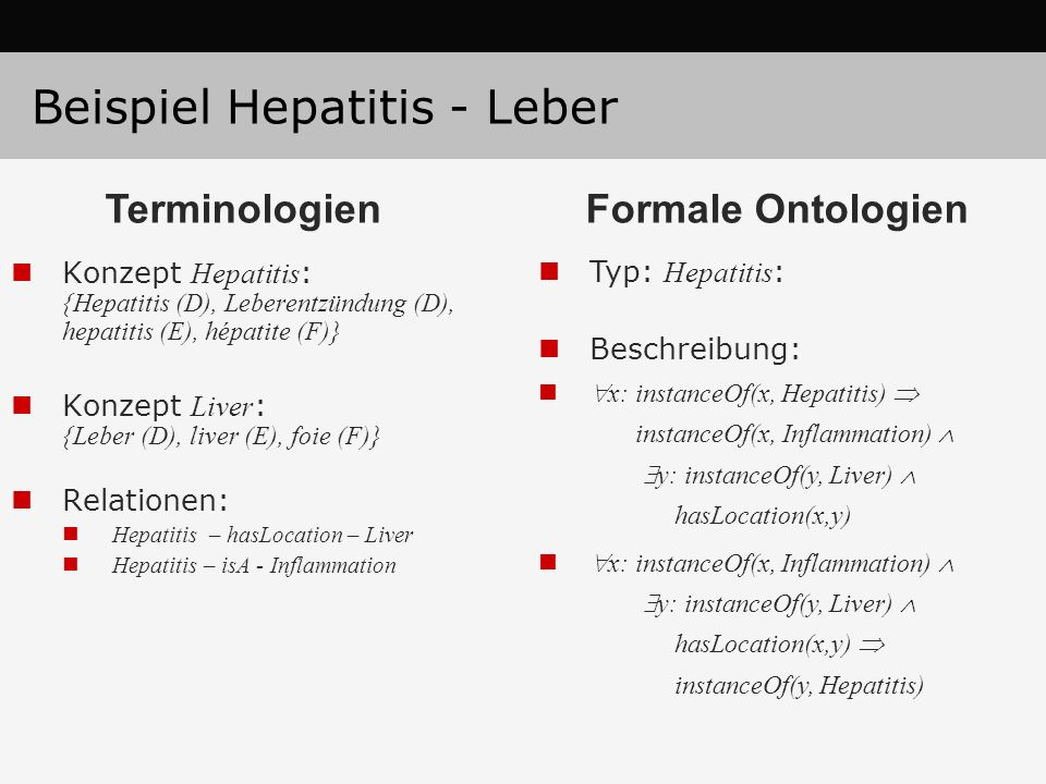 Beispiel Hepatitis - Leber Konzept Hepatitis : {Hepatitis (D), Leberentzündung (D), hepatitis (E), hépatite (F)} Konzept Liver : {Leber (D), liver (E)