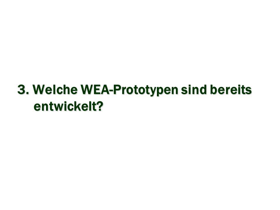3. Welche WEA-Prototypen sind bereits entwickelt