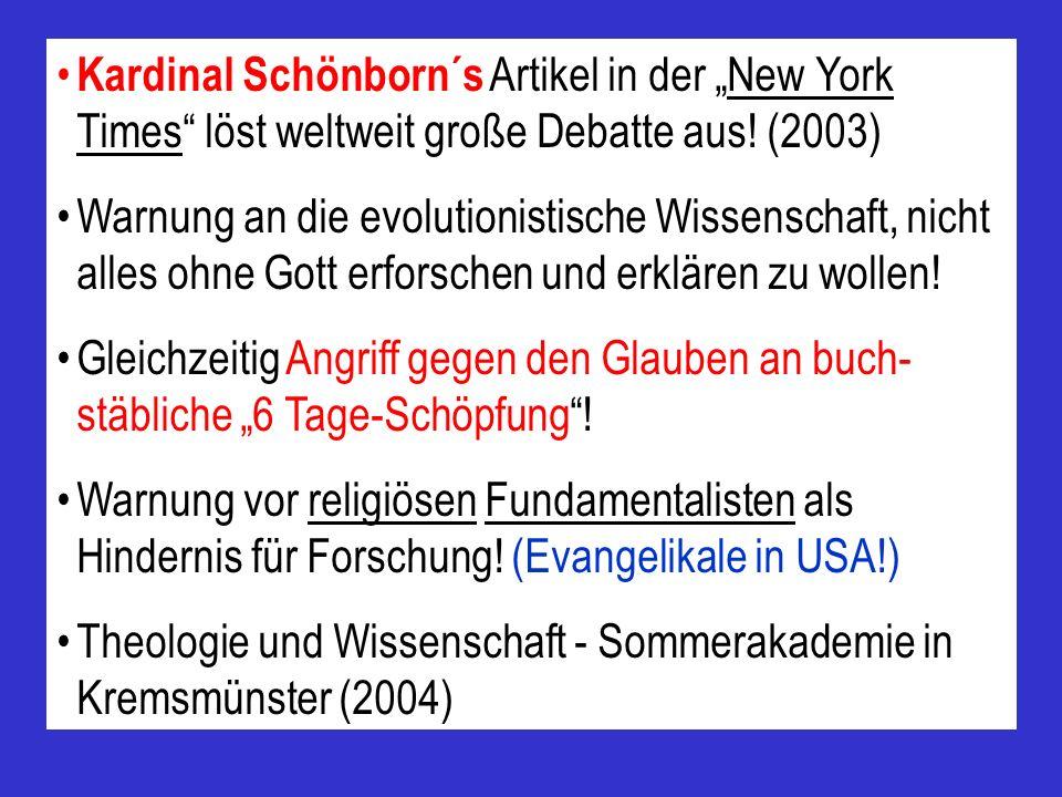 Die Situation in Europa Bis vor einigen Jahren kaum öffentliche Diskussion! Publikationen von Wilder Smith, Withcombe und Morris, Werner Gitt, Scherer