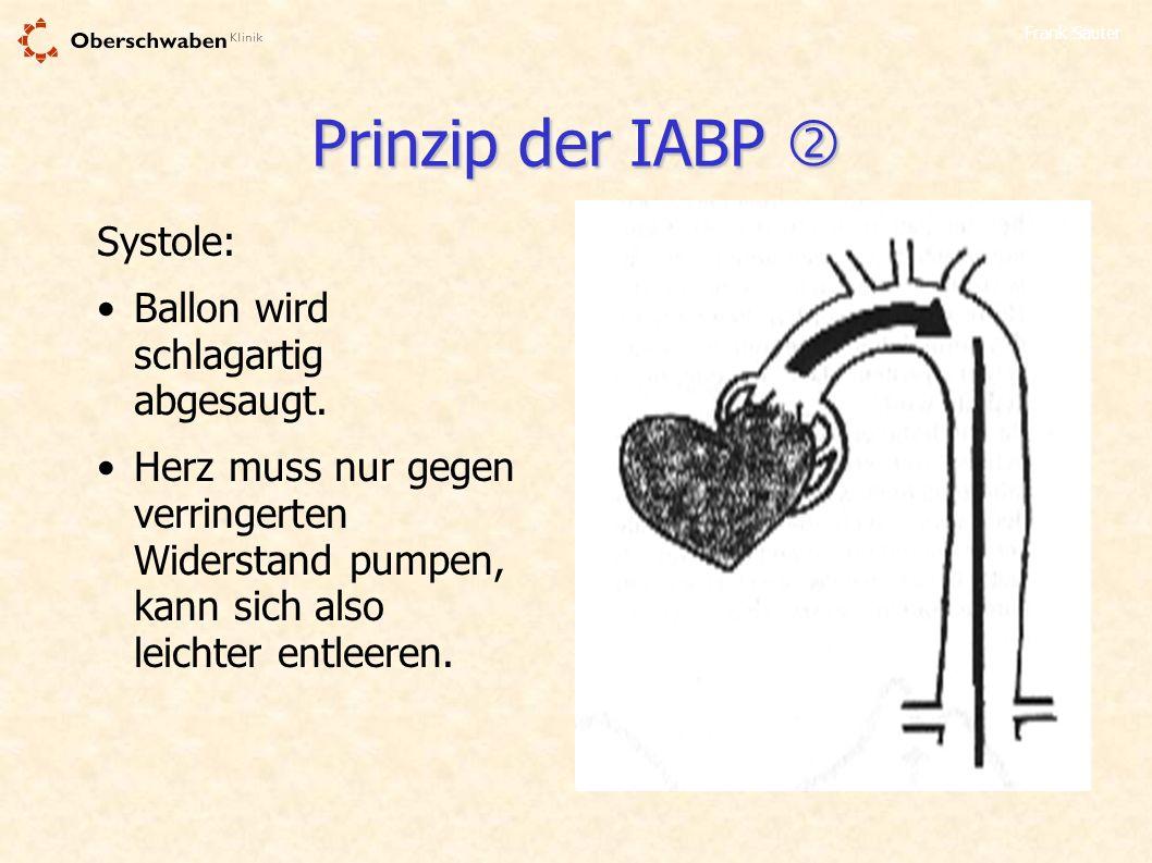 Frank Sauter Prinzip der IABP Prinzip der IABP Systole: Ballon wird schlagartig abgesaugt. Herz muss nur gegen verringerten Widerstand pumpen, kann si