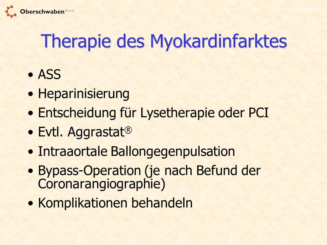 Frank Sauter Therapie des Myokardinfarktes ASS Heparinisierung Entscheidung für Lysetherapie oder PCI Evtl. Aggrastat ® Intraaortale Ballongegenpulsat