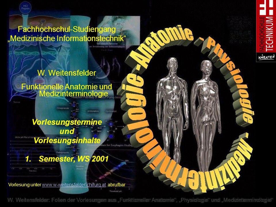 W. Weitensfelder: Folien der Vorlesungen aus Funktioneller Anatomie, Physiologie und Medizinterminologie Fachhochschul-Studiengang Medizinische Inform