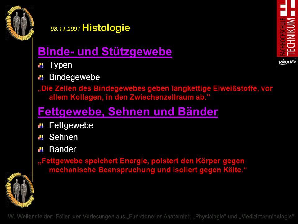 08.11.2001 Histologie Binde- und Stützgewebe Typen Bindegewebe Die Zellen des Bindegewebes geben langkettige Eiweißstoffe, vor allem Kollagen, in den