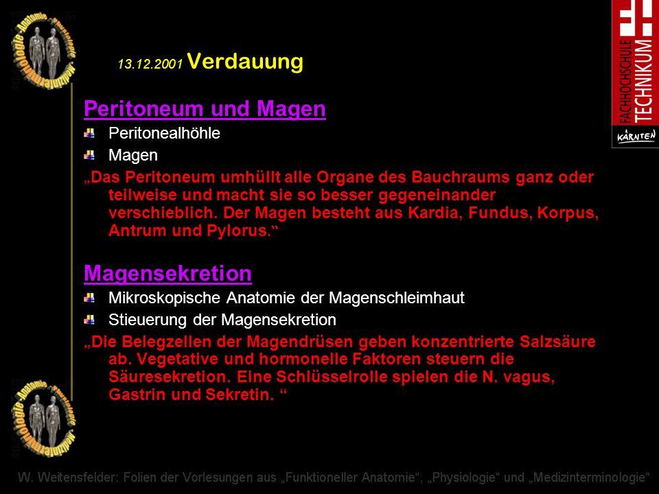 13.12.2001 Verdauung Peritoneum und Magen Peritonealhöhle Magen Das Peritoneum umhüllt alle Organe des Bauchraums ganz oder teilweise und macht sie so