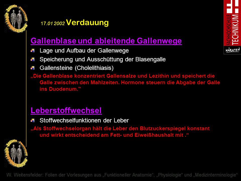 17.01 2002 Verdauung Gallenblase und ableitende Gallenwege Lage und Aufbau der Gallenwege Speicherung und Ausschüttung der Blasengalle Gallensteine (C