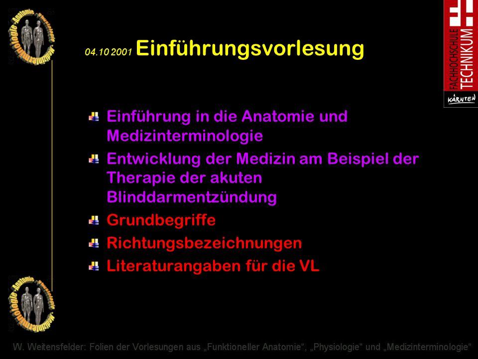 04.10 2001 Einführungsvorlesung Einführung in die Anatomie und Medizinterminologie Entwicklung der Medizin am Beispiel der Therapie der akuten Blindda