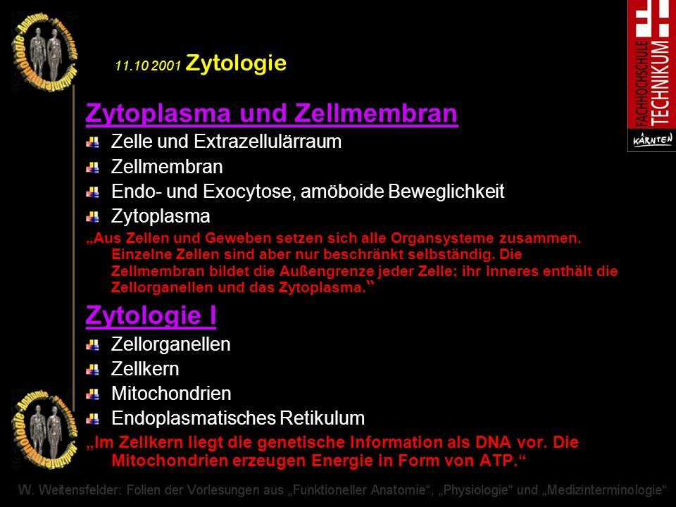 11.10 2001 Zytologie Zytoplasma und Zellmembran Zelle und Extrazellulärraum Zellmembran Endo- und Exocytose, amöboide Beweglichkeit Zytoplasma Aus Zel