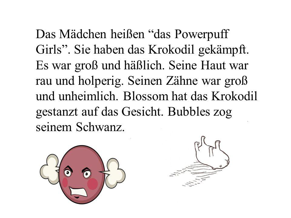 Das Mädchen heißen das Powerpuff Girls. Sie haben das Krokodil gekämpft.