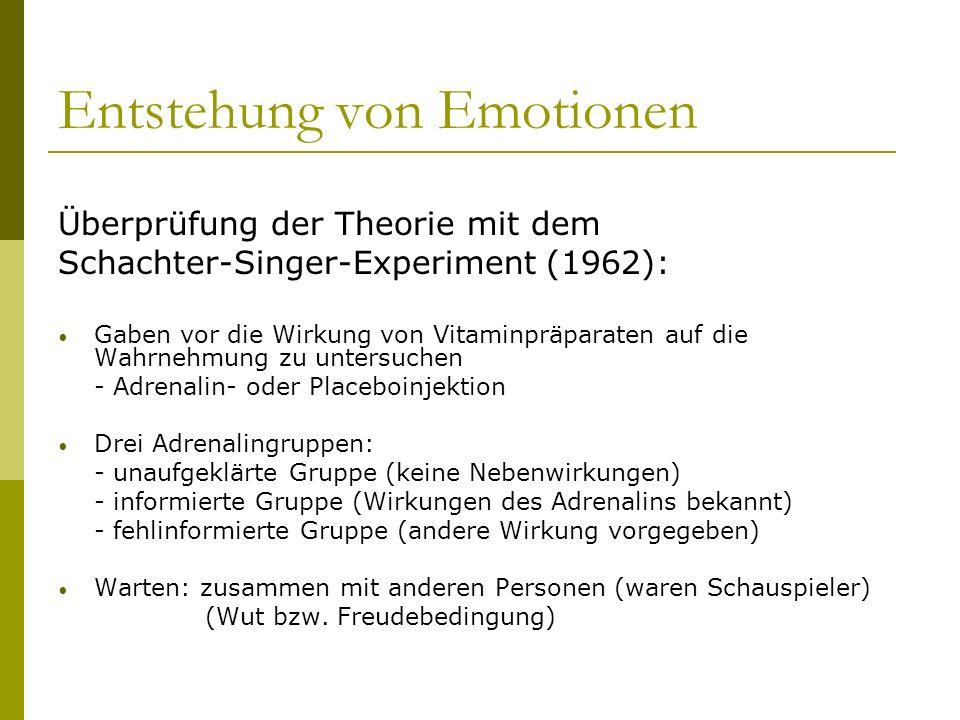 Entstehung von Emotionen Überprüfung der Theorie mit dem Schachter-Singer-Experiment (1962): Gaben vor die Wirkung von Vitaminpräparaten auf die Wahrn