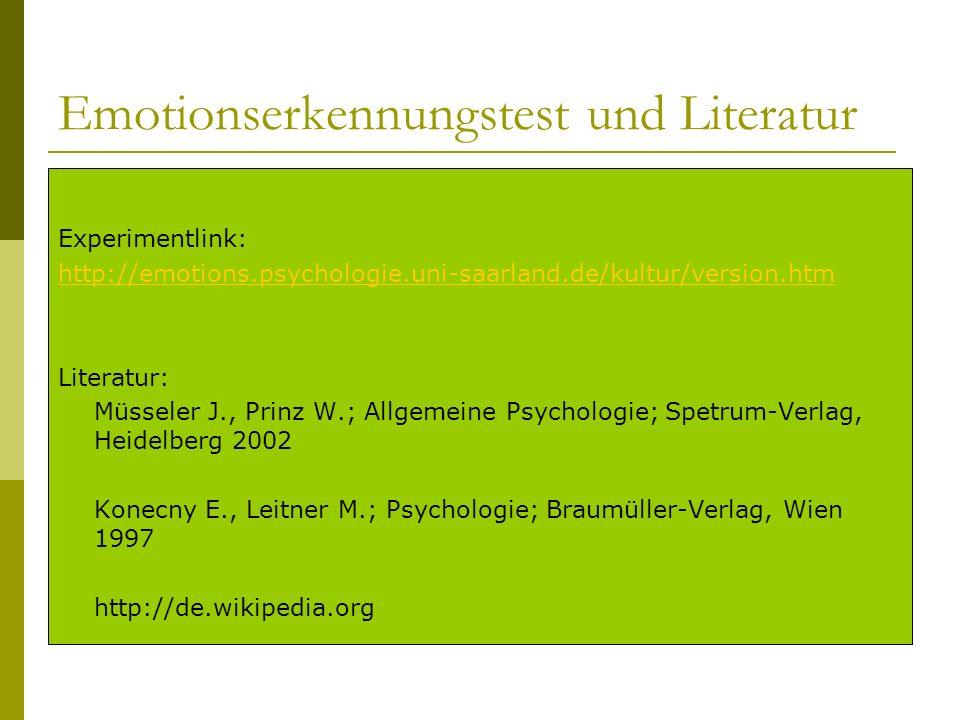 Emotionserkennungstest und Literatur Experimentlink: http://emotions.psychologie.uni-saarland.de/kultur/version.htm Literatur: Müsseler J., Prinz W.;