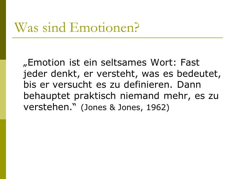 Versuch einer Definition: Eine Emotion ist ein psycho- physiologischer Prozess, der durch die mentale Bewertung eines Objektes oder einer Situation ausgelöst wird und mit physiologischen Veränderungen, spezifischen Kognitionen, subjektiven Gefühlserleben, Veränderung des Ausdrucks und einer Veränderung der Verhaltensbereitschaft einhergeht.