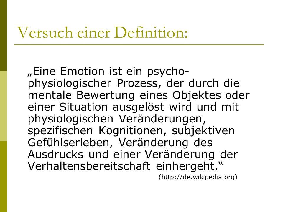 Abgrenzung ähnlicher Begriffe: Affekt Emotionen Stimmungen Gefühl (subjektives Erleben) Kognition Physiologische Erregung Motivation (Verhalten…) Ausdruck (Gesicht,…)