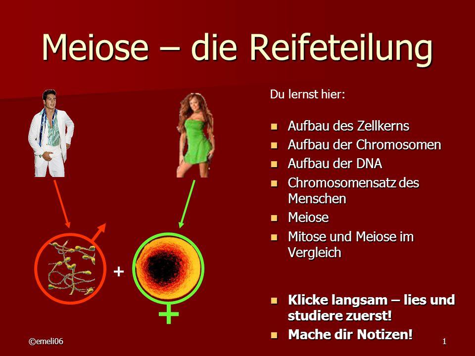 ©emeli061 Meiose – die Reifeteilung Aufbau des Zellkerns Aufbau des Zellkerns Aufbau der Chromosomen Aufbau der Chromosomen Aufbau der DNA Aufbau der
