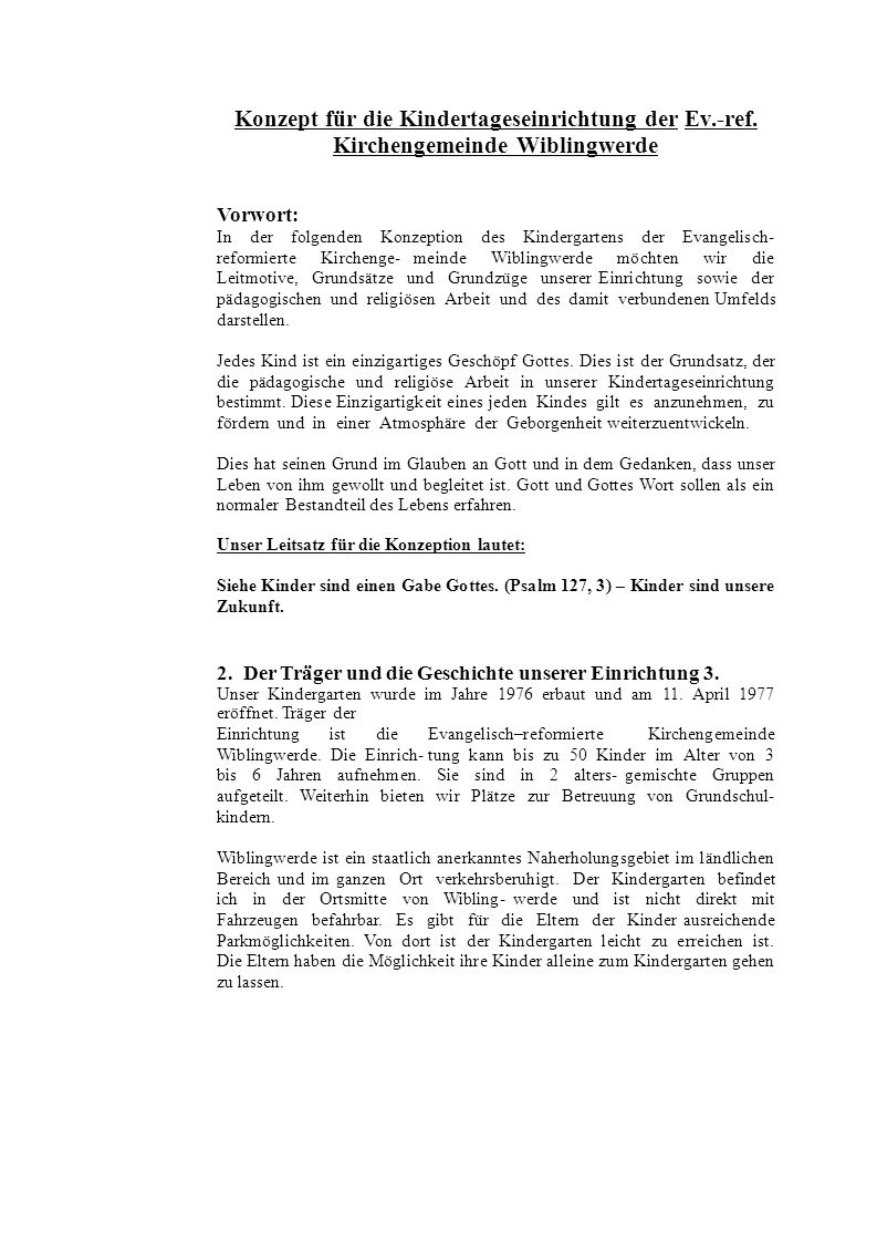 Konzept für die Kindertageseinrichtung der Ev.-ref.