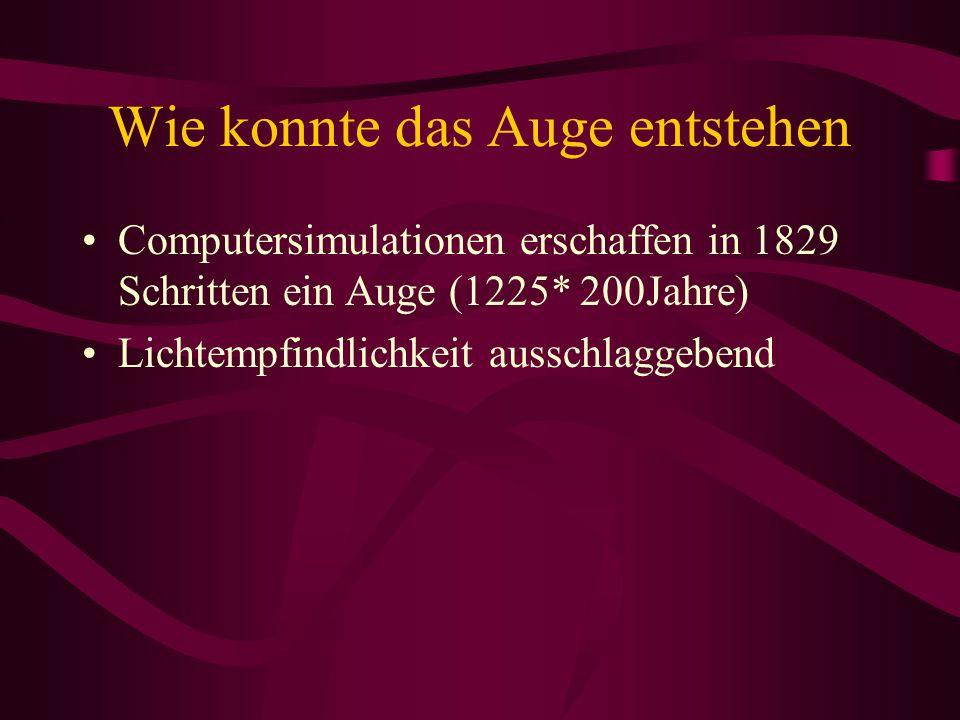 Wie konnte das Auge entstehen Computersimulationen erschaffen in 1829 Schritten ein Auge (1225* 200Jahre) Lichtempfindlichkeit ausschlaggebend