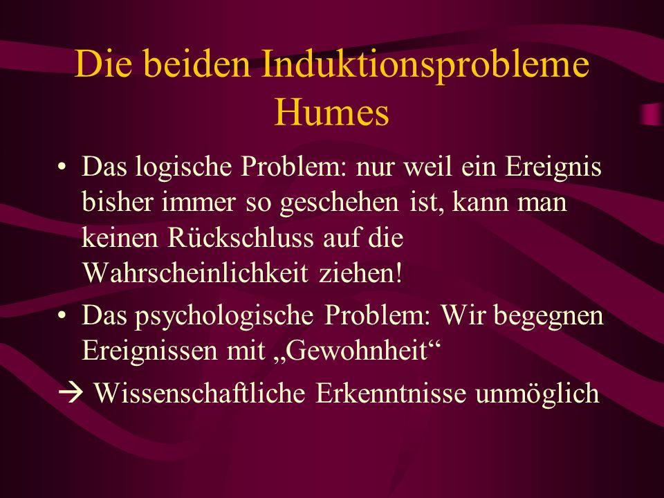 Die beiden Induktionsprobleme Humes Das logische Problem: nur weil ein Ereignis bisher immer so geschehen ist, kann man keinen Rückschluss auf die Wah