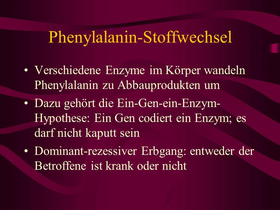 Phenylalanin-Stoffwechsel Verschiedene Enzyme im Körper wandeln Phenylalanin zu Abbauprodukten um Dazu gehört die Ein-Gen-ein-Enzym- Hypothese: Ein Ge