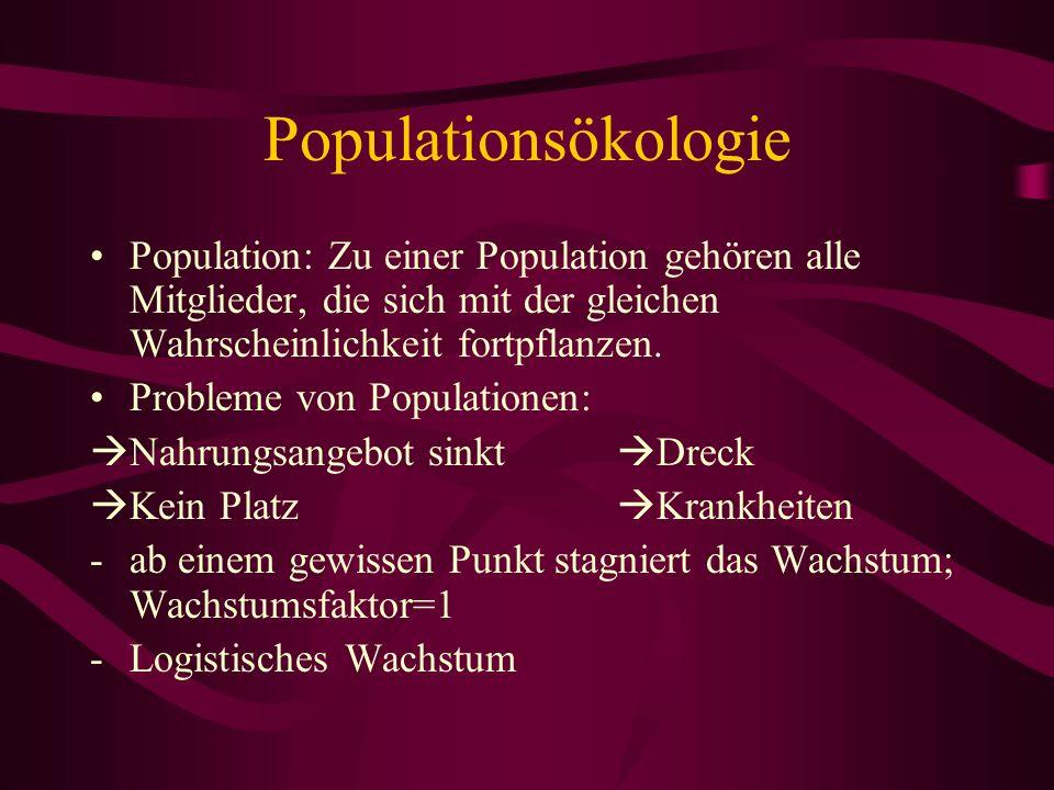 Populationsökologie Population: Zu einer Population gehören alle Mitglieder, die sich mit der gleichen Wahrscheinlichkeit fortpflanzen. Probleme von P