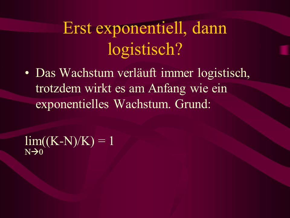 Erst exponentiell, dann logistisch? Das Wachstum verläuft immer logistisch, trotzdem wirkt es am Anfang wie ein exponentielles Wachstum. Grund: lim((K