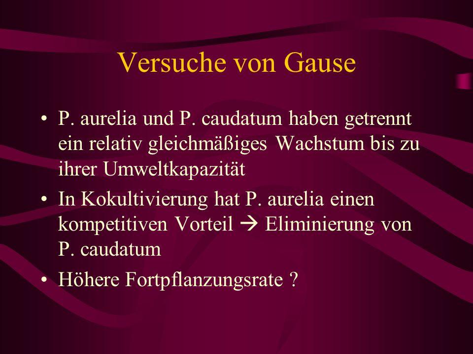 Versuche von Gause P. aurelia und P. caudatum haben getrennt ein relativ gleichmäßiges Wachstum bis zu ihrer Umweltkapazität In Kokultivierung hat P.