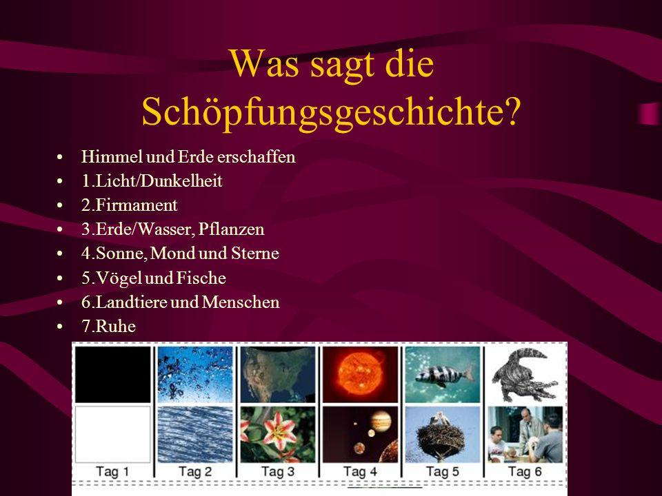 Was sagt die Schöpfungsgeschichte? Himmel und Erde erschaffen 1.Licht/Dunkelheit 2.Firmament 3.Erde/Wasser, Pflanzen 4.Sonne, Mond und Sterne 5.Vögel
