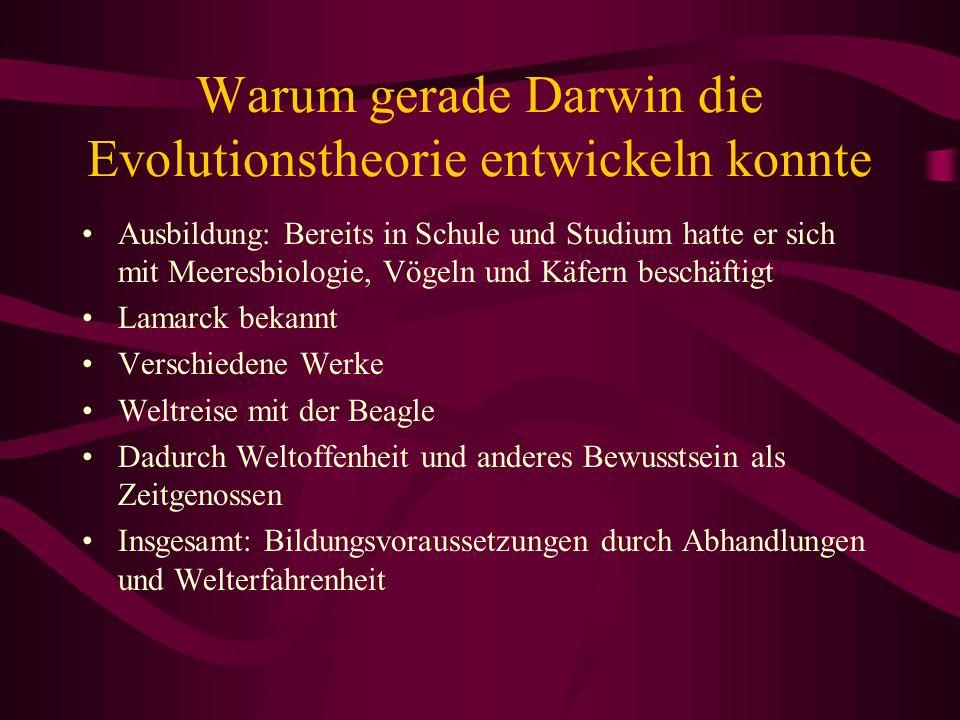 Warum gerade Darwin die Evolutionstheorie entwickeln konnte Ausbildung: Bereits in Schule und Studium hatte er sich mit Meeresbiologie, Vögeln und Käf