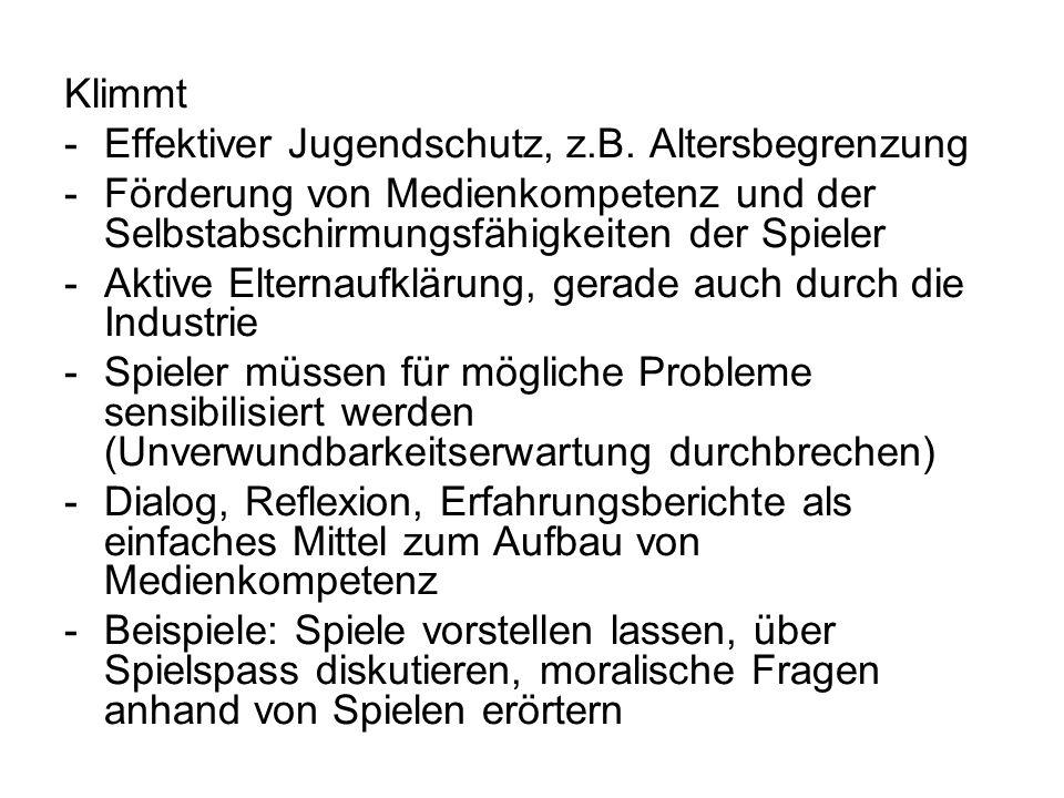 Klimmt -Effektiver Jugendschutz, z.B.