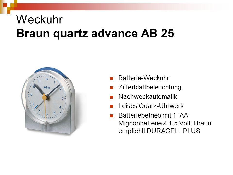 Weckuhr Braun quartz advance AB 25 Batterie-Weckuhr Zifferblattbeleuchtung Nachweckautomatik Leises Quarz-Uhrwerk Batteriebetrieb mit 1 AA Mignonbatte
