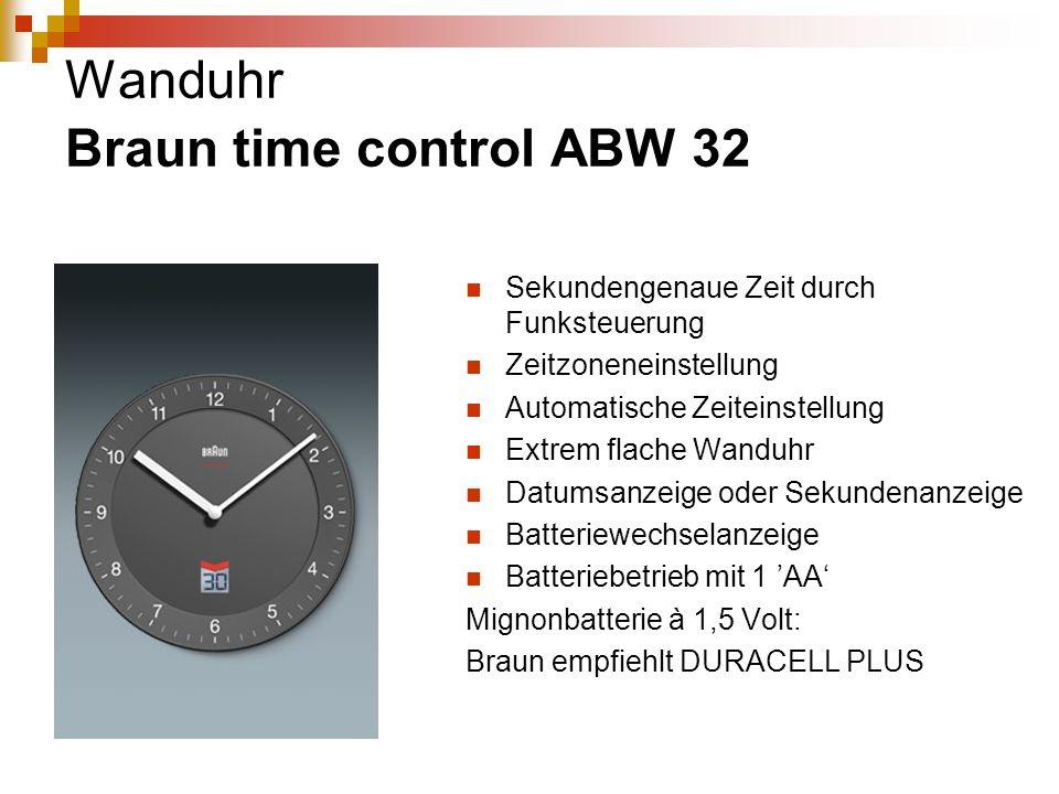 Wanduhr Braun time control ABW 32 Sekundengenaue Zeit durch Funksteuerung Zeitzoneneinstellung Automatische Zeiteinstellung Extrem flache Wanduhr Datu