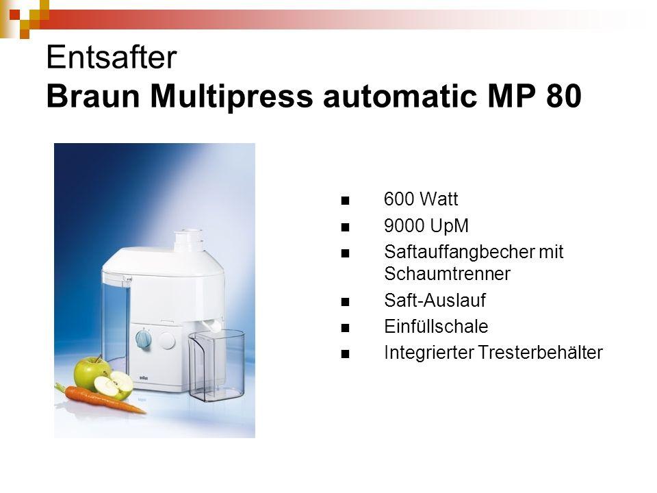 Entsafter Braun Multipress automatic MP 80 600 Watt 9000 UpM Saftauffangbecher mit Schaumtrenner Saft-Auslauf Einfüllschale Integrierter Tresterbehält