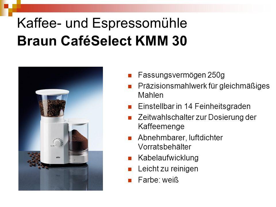 Kaffee- und Espressomühle Braun CaféSelect KMM 30 Fassungsvermögen 250g Präzisionsmahlwerk für gleichmäßiges Mahlen Einstellbar in 14 Feinheitsgraden