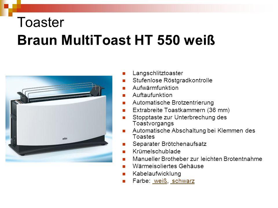 Toaster Braun MultiToast HT 550 weiß Langschlitztoaster Stufenlose Röstgradkontrolle Aufwärmfunktion Auftaufunktion Automatische Brotzentrierung Extra