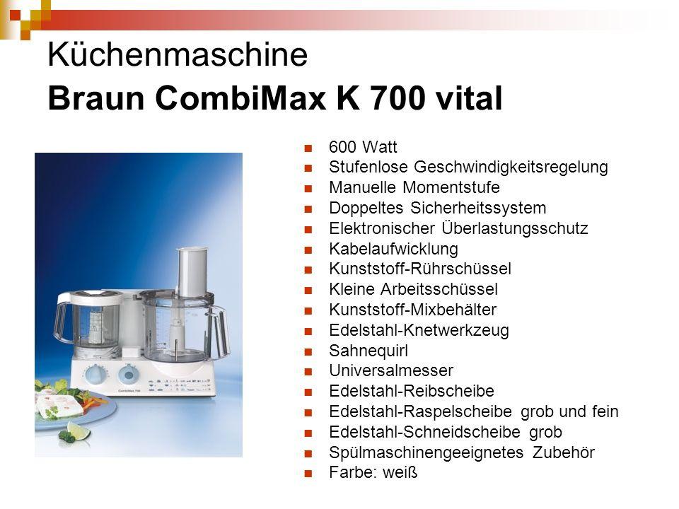 Küchenmaschine Braun CombiMax K 700 vital 600 Watt Stufenlose Geschwindigkeitsregelung Manuelle Momentstufe Doppeltes Sicherheitssystem Elektronischer